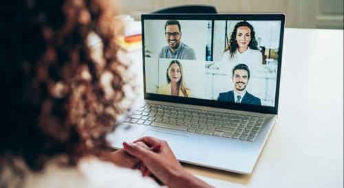 Hybrid worker uses video conferencing platform