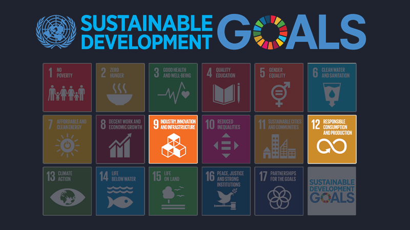 United Nations Sustainable Goals list highlighting numbers 9 and 12.