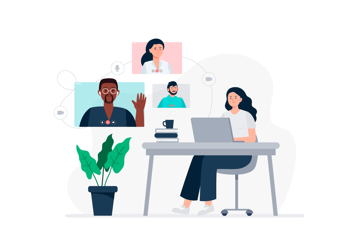 A hybrid workforce meets together via video conference