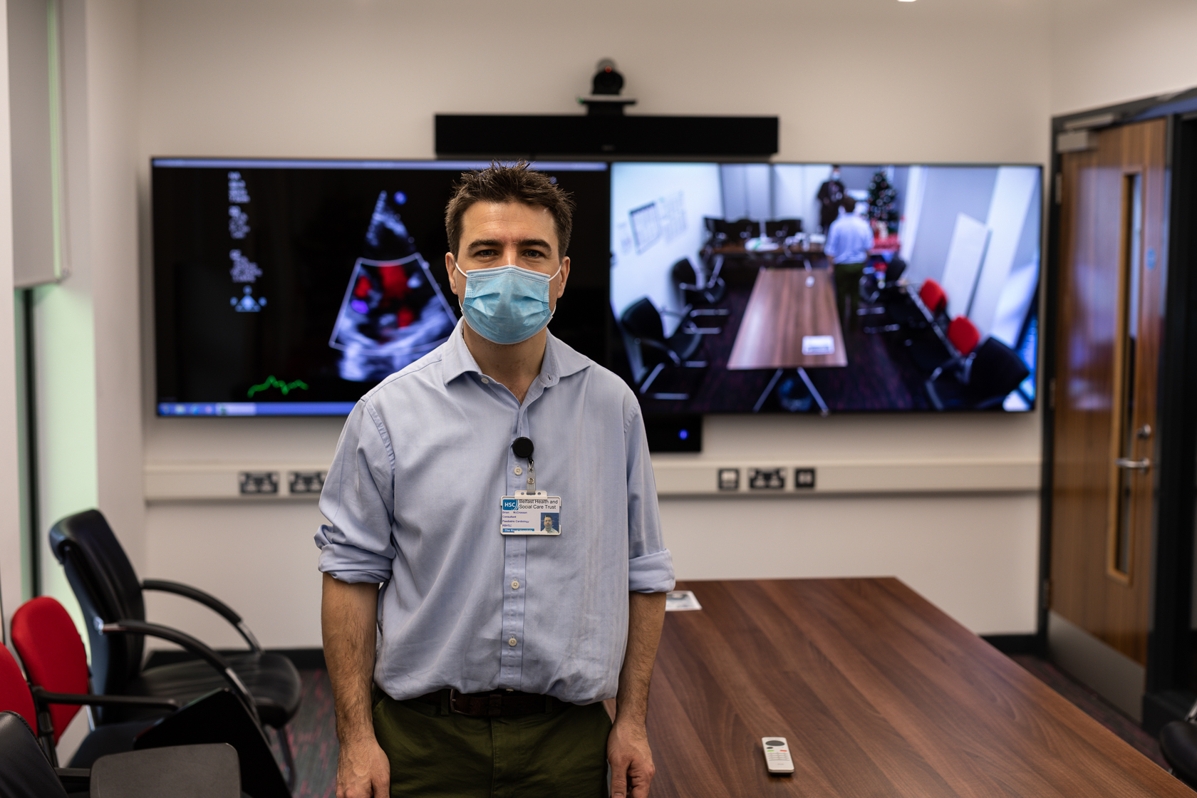 Doctor at the Royal Belfast Hospital for Sick Children with Pexip telehealth video conference call system