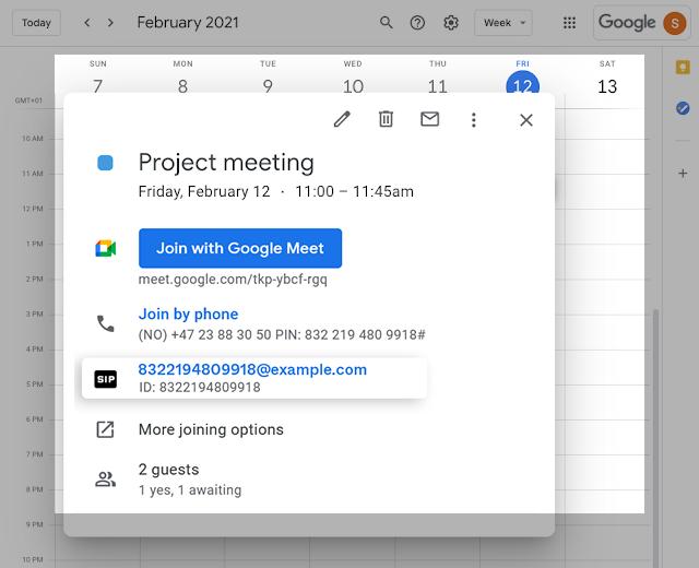 Google Meet invite - joining options