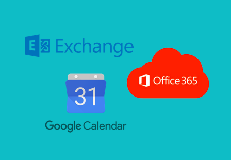 Microsoft Exchange, Microsoft Office 365 and Google Calendar are all supported by Pexip One-Touch Join (Teal background)