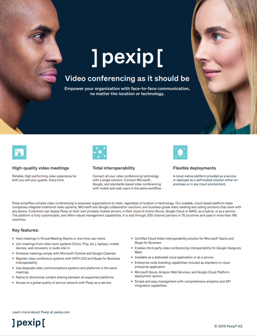 Pexip product sheet preview