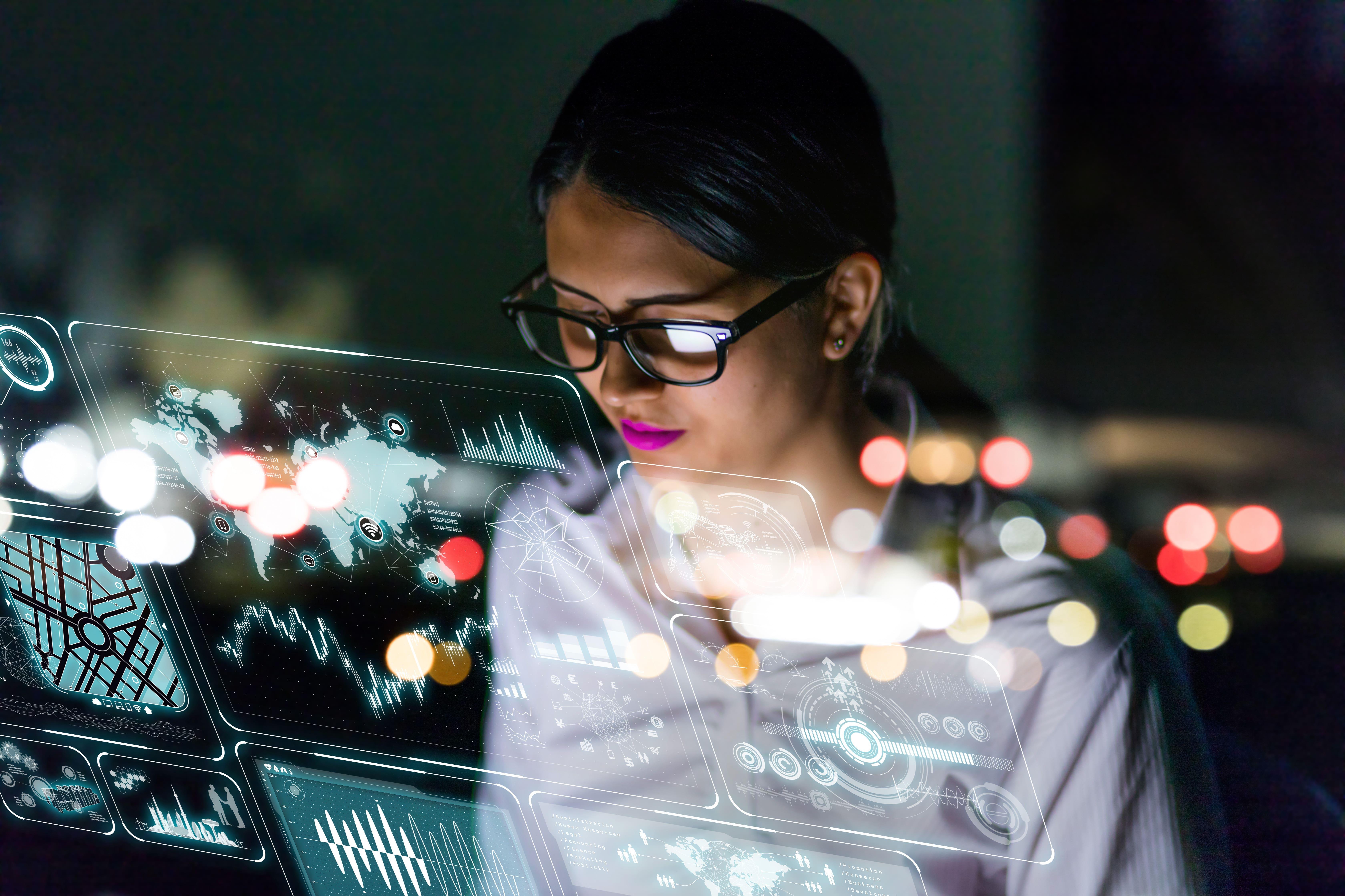 Woman using AI