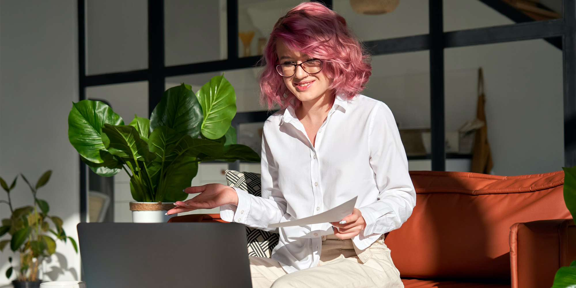 Generation Z employee uses video conferencing